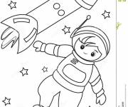 Free coloring and drawings Astronaut and rocket Coloring page