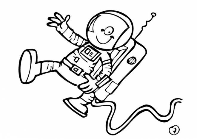 Free coloring and drawings Cartoon astronaut Coloring page