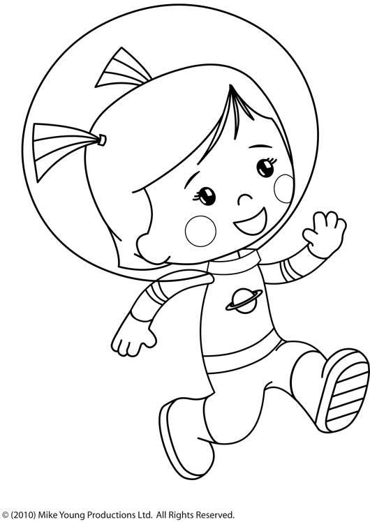 Free coloring and drawings Cartoon cosmonaut Coloring page