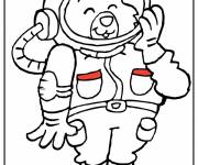 Free coloring and drawings Cosmonaut bear for child Coloring page