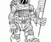 Free coloring and drawings Cosmonaut carries the flag of the United States Coloring page