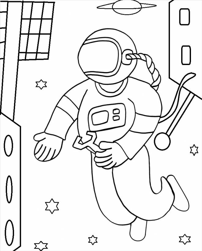 Free coloring and drawings Cosmonaut makes repairs Coloring page