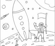 Coloring pages Cosmonaut on the moon child drawing