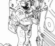 Free coloring and drawings Cosmonaut repairs the vessel system Coloring page
