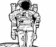 Coloring pages Cosmonaut steps out of spacecraft