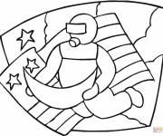 Coloring pages Cosmonaut walks in the moon in front of the American flag