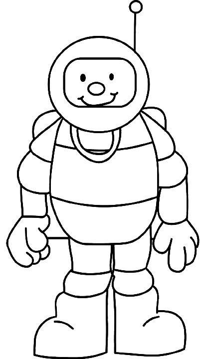 Free coloring and drawings Cosmonaut while smiling Coloring page