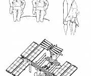 Coloring pages Cosmonauts and space shuttle