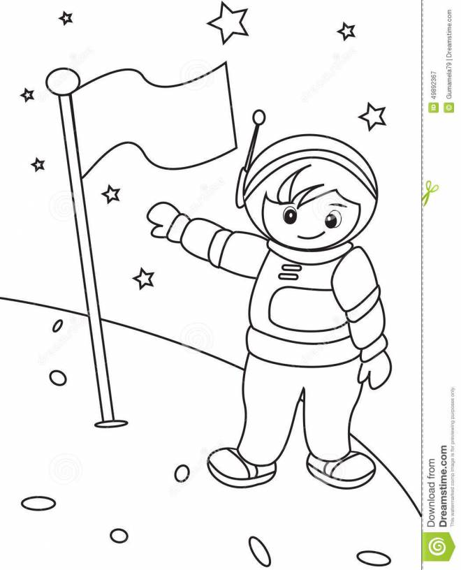 Free coloring and drawings Moon astronaut Coloring page