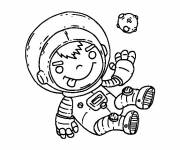 Coloring pages The little boy Cosmonaut discovers the planets