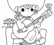 Coloring pages A little Cowgirl plays the guitar