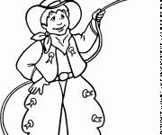 Coloring pages Child cowboy throws Lasso