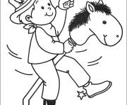 Coloring pages Child playing Cowboy