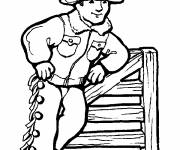 Free coloring and drawings Coloring a cowboy Coloring page
