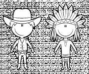 Coloring pages Cowboy and Indian