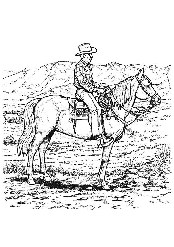 Free coloring and drawings Cowboy and West Coloring page