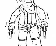 Coloring pages Cowboy carries his two pistols