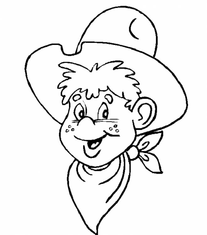 Free coloring and drawings Cowboy child drawing Coloring page