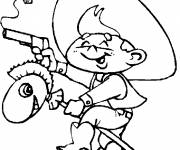 Coloring pages Cowboy child with toy