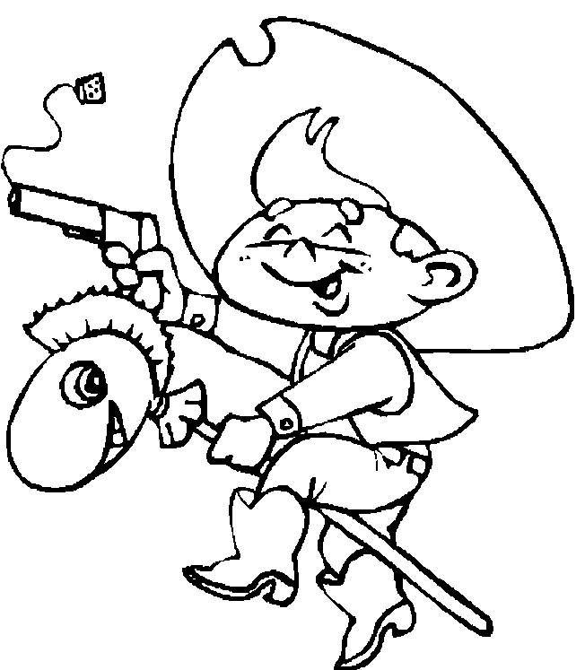 Free coloring and drawings Cowboy child with toy Coloring page