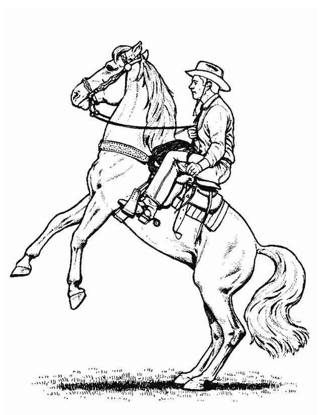 Free coloring and drawings Cowboy horse Drawing Coloring page