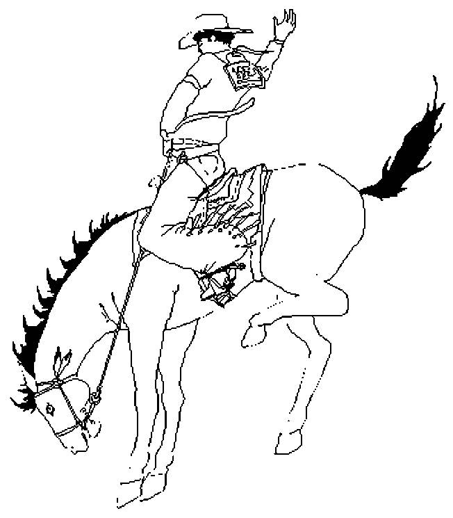 Free coloring and drawings Cowboy on a prancing horse Coloring page