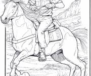 Free coloring and drawings Cowboy on his horse Coloring page