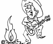 Coloring pages Cowboy plays guitar
