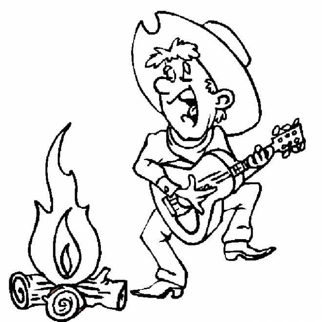 Free coloring and drawings Cowboy plays guitar Coloring page