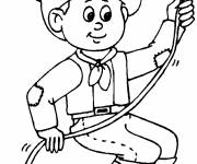Coloring pages Cowboy throwing lasso