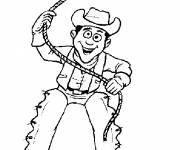 Coloring pages Cowboy throws his rope