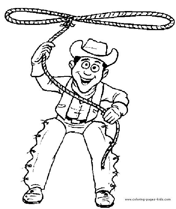Free coloring and drawings Cowboy throws his rope Coloring page
