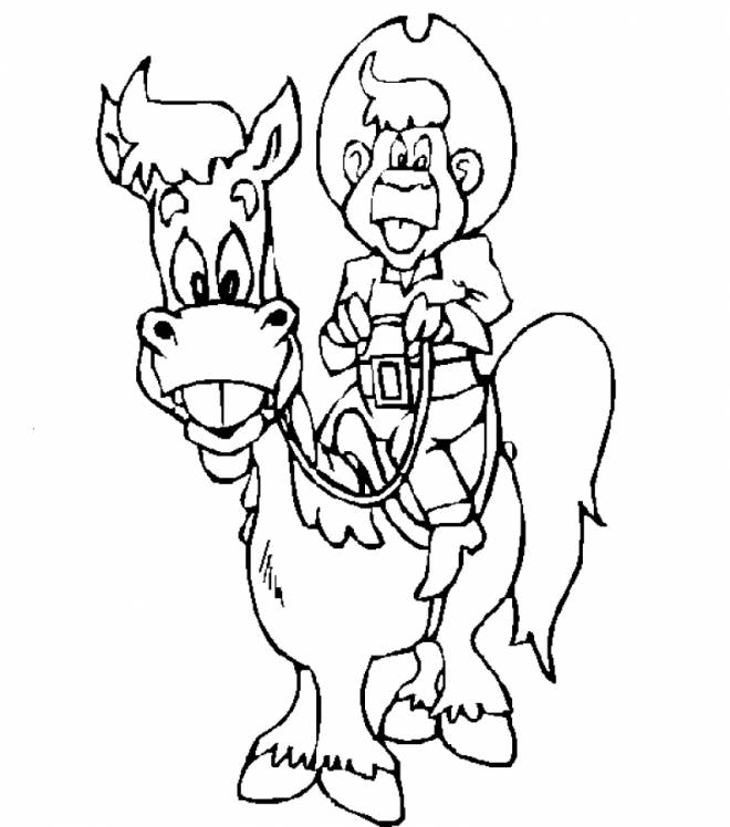 Free coloring and drawings Cowboy to print Coloring page