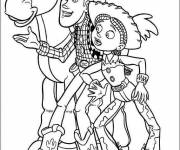 Coloring pages Cowboys and their horse