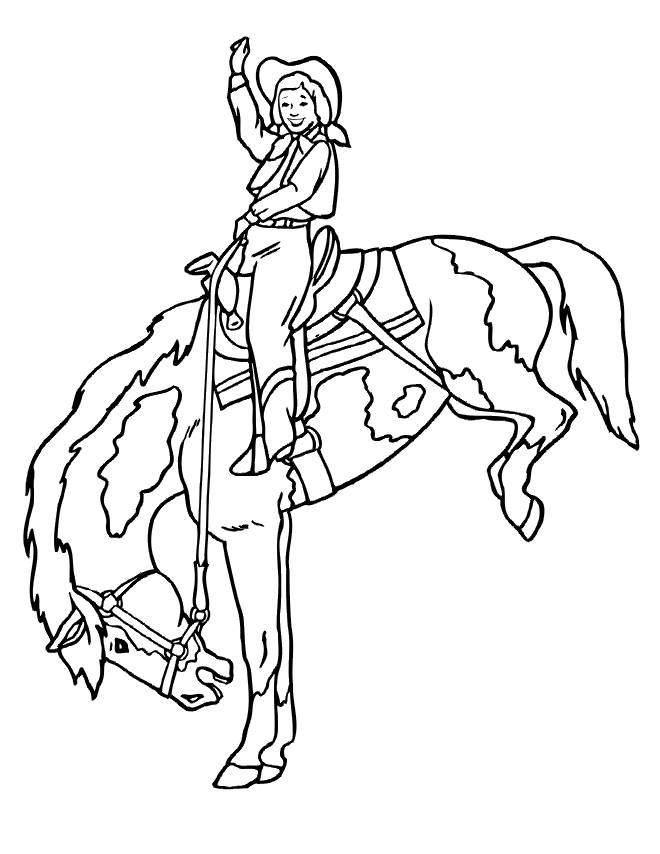 Free coloring and drawings Cowgirl horse Coloring page