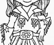 Coloring pages Cowgirl wears her hat