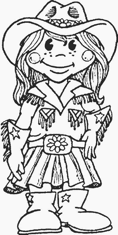 Free coloring and drawings Cowgirl wears her hat Coloring page