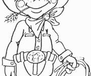 Free coloring and drawings Cute cowboy Coloring page