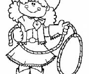 Coloring pages Cute cowgirl