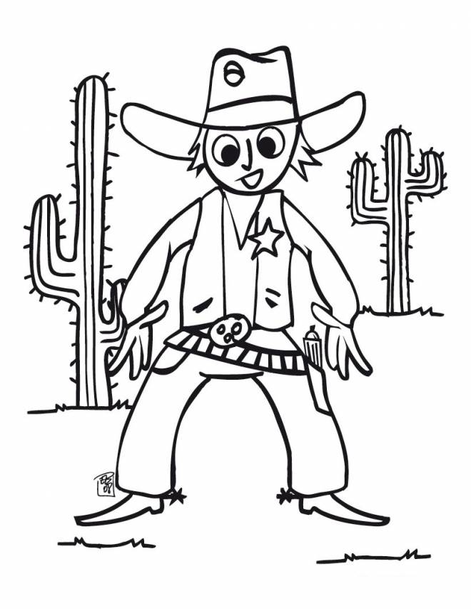 Free coloring and drawings Easy cowboy Coloring page