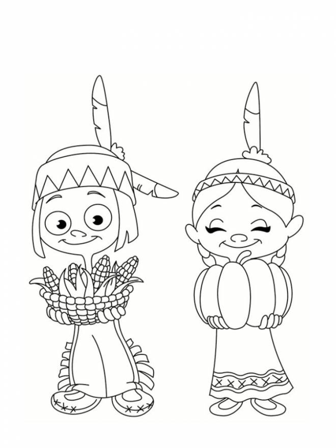 Free coloring and drawings Little Cowboy and Indian Coloring page