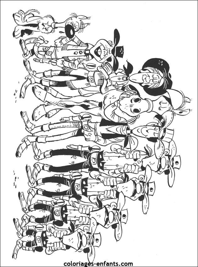 Free coloring and drawings Lucky Luke and the whole gang Coloring page