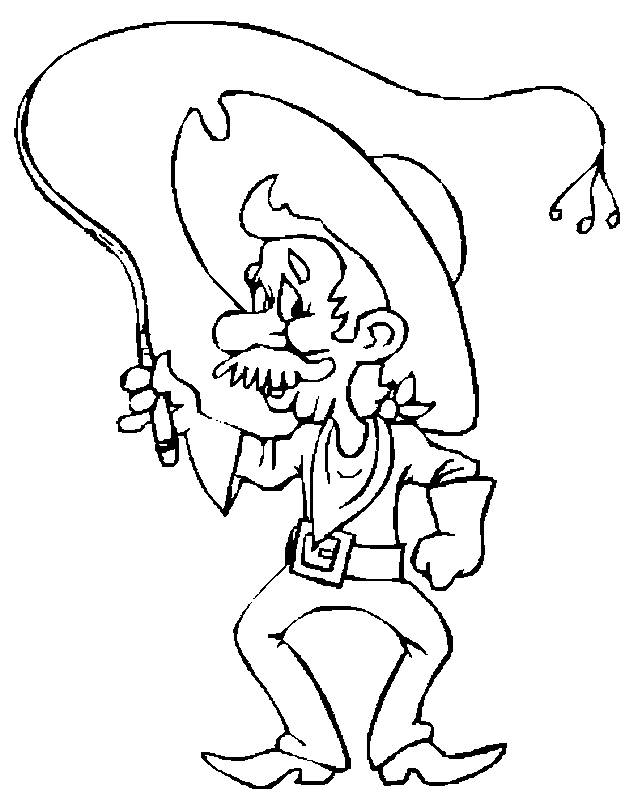Free coloring and drawings Old cowboy Coloring page