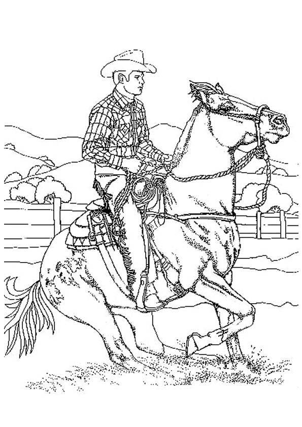 Free coloring and drawings Western Cowboy  Coloring page
