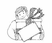 Coloring pages Dad and gift