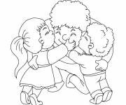 Coloring pages Dad and his children