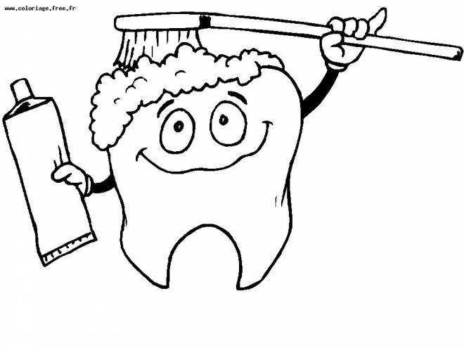 Free coloring and drawings A funny Toothbrush  Coloring page