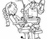 Coloring pages A girl at the dentist