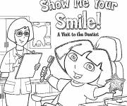 Free coloring and drawings Dora at the dentist's Coloring page