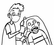 Coloring pages Frightened Dentist Child